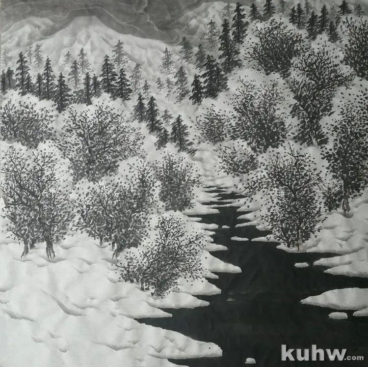 国画教程——写意山水《冰雪小景》