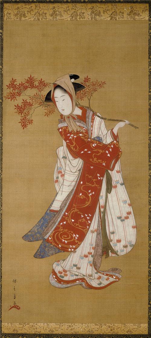 胜川春章(Katsukawa Shunsho)-枫树枝的舞者 日本作品下载