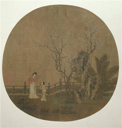 中国元或明初《在宫殿的花园里的女仆人的女人》1375–1500年作品