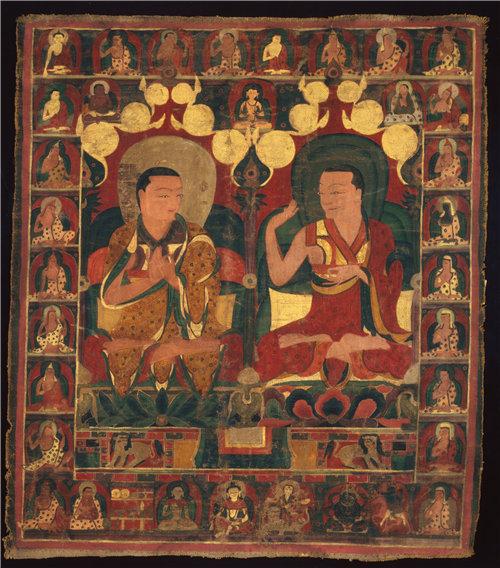 西藏《辩论中的两位喇嘛世系绘画的彩绘的横幅(唐卡)》1401–1500年作品下载