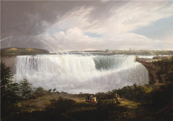 艾尔·费舍尔(Alvan Fisher),尼亚加拉大马蹄瀑布, 1820年油画