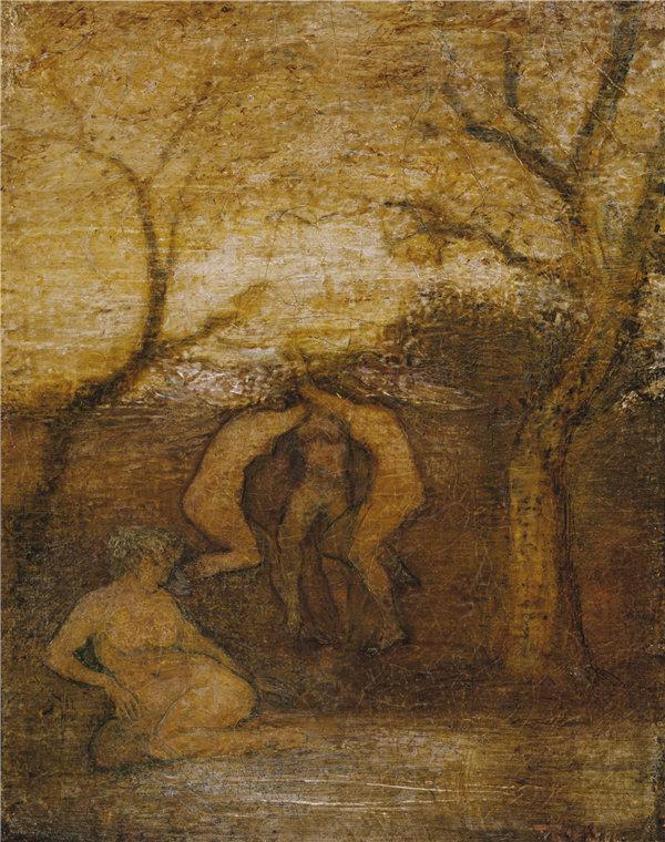 阿尔伯特·平克汉姆·赖德(Albert Pinkham Ryder)-《跳舞的树精》, 1879年油画