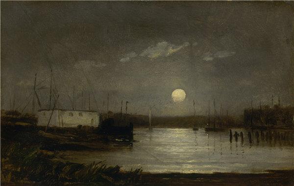 爱德华·米切尔·班尼斯特( Edward Mitchell Bannister),无题(港口上空的月亮,满月和船桅的码头景象) 1868年油画