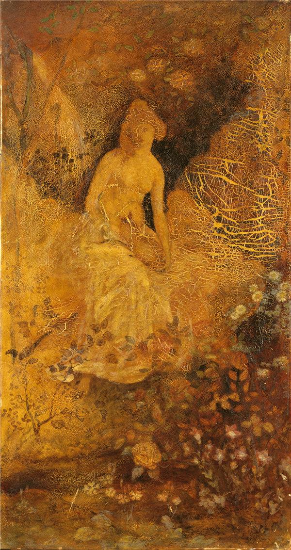 阿尔伯特·平克汉姆·赖德(Albert Pinkham Ryder),银幕面板:戴鹿的女人 1876年油画