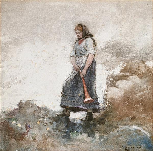 温斯洛·荷马(Winslow Homer)-海岸警卫队的女儿 1881年水彩作品