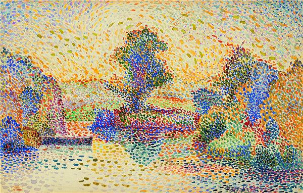 希波利特·佩蒂让(Hippolyt Petitjean)-船在池塘上 1912-1929年水彩作品