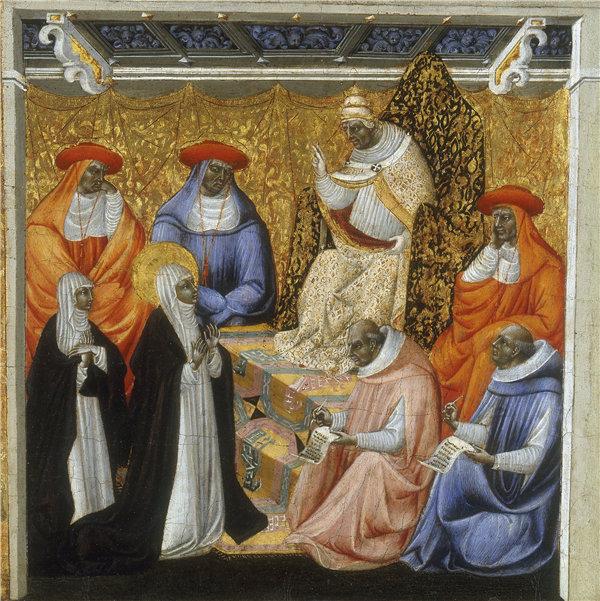 乔瓦尼·迪保罗(Giovanni di Paolo)-阿维尼翁教皇前的圣凯瑟琳 1460-1463年蛋彩画作品