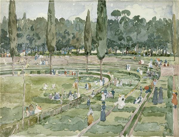 莫里斯·普伦德加斯特(Maurice Prendergast)-赛马场(锡耶纳广场,博尔盖塞花园,罗马)1898年水彩作品
