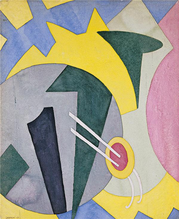 约翰·马林(John Marin)-抽象化 1917年水彩作品