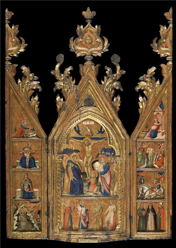洛伦佐·韦内齐亚诺(Lorenzo Veneziano)-带有中央受难点的便携式三联画 1370年-1375年蛋彩画作品