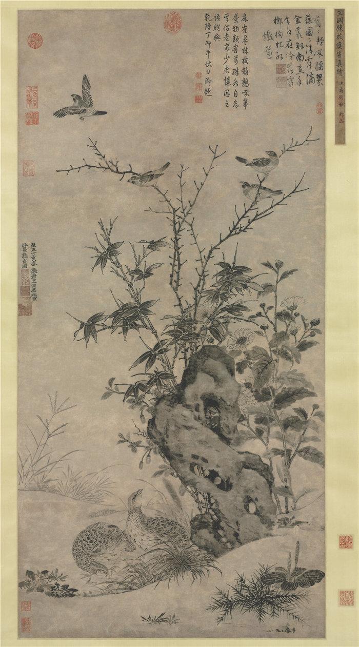 中国元朝王渊-《秋景鹌鹑图》 国画高清作品
