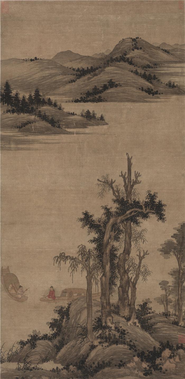 中国元朝赵雍-《溪山渔隐图》1300年 国画高清作品