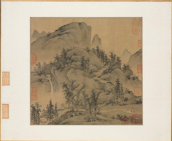 中国元朝盛懋-《秋山旅行图》 国画高清作品
