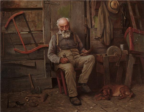 约翰·乔治·布朗(John George Brown)-造船厂 1904年油画高清下载