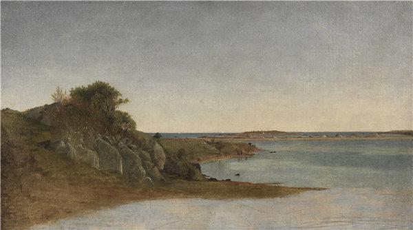 约翰·弗雷德里克·肯塞特(John Frederick Kensett)-纽波特附近的景色 1860 年油画