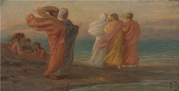 以利户维德(Elihu Vedder)-音乐派对 1875年油画