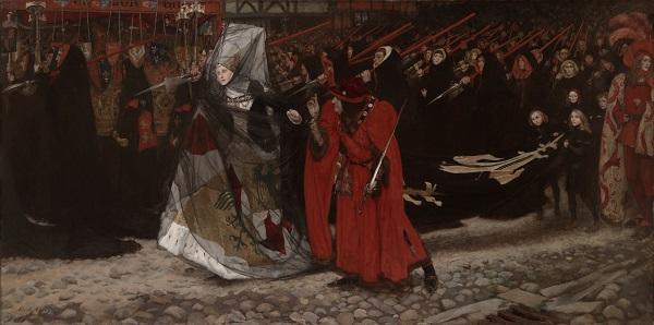 艾德文·奥斯汀·艾比(Edwin Austin Abbey,1852-1911年)-格洛斯特公爵理查和安妮夫人油画