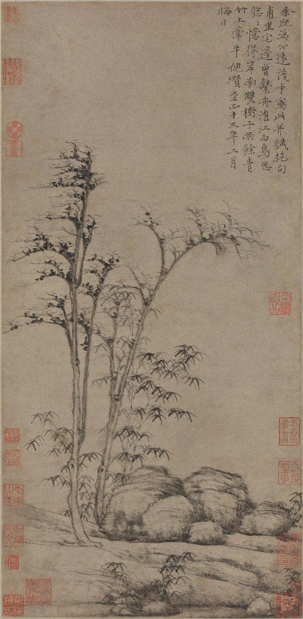 中国元朝倪瓒-岸南双树图, 1353年高清作品