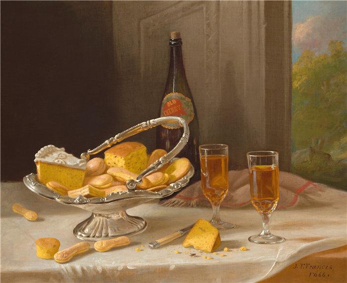 约翰·F·弗朗西斯(John F. Francis)-有银蛋糕篮的静物 美国