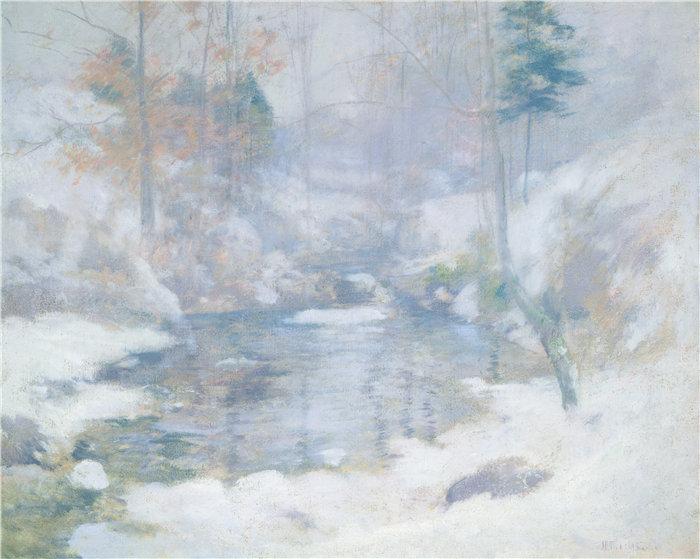 约翰·亨利·特瓦克曼(John Henry Twachtman)-冬季和谐油画 美国