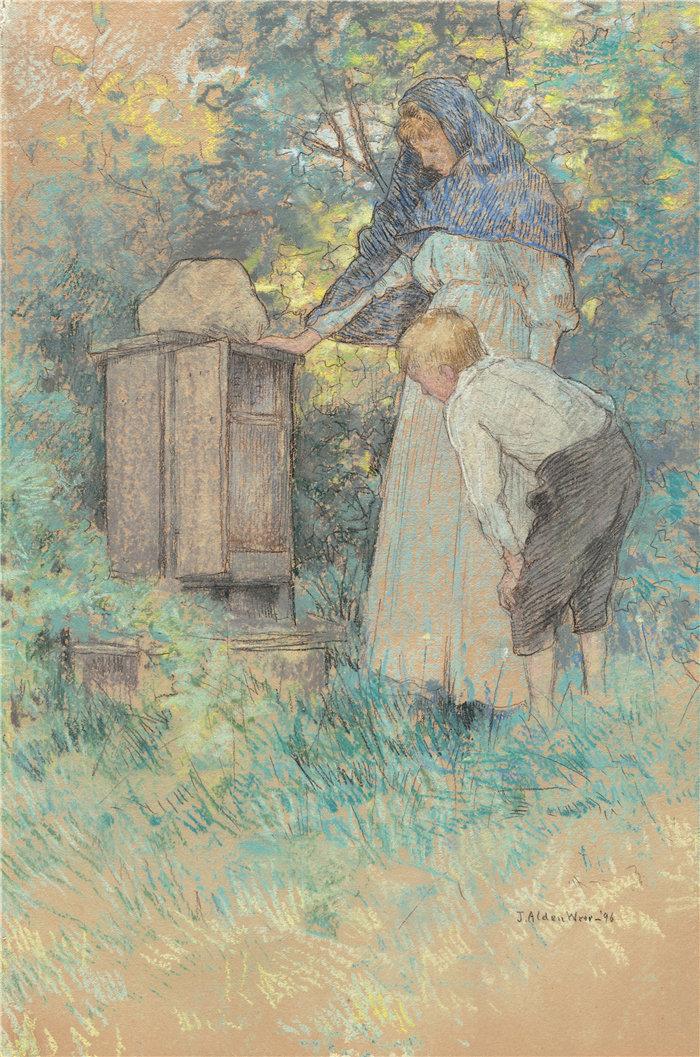 朱利安·奥尔登·威尔(Julian Alden Weir)-看蜜蜂作品高清下载