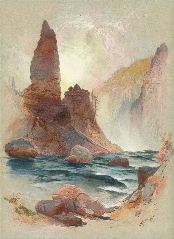 托马斯·莫兰(Thomas Moran)-在塔瀑布,黄石公园的塔高清下载