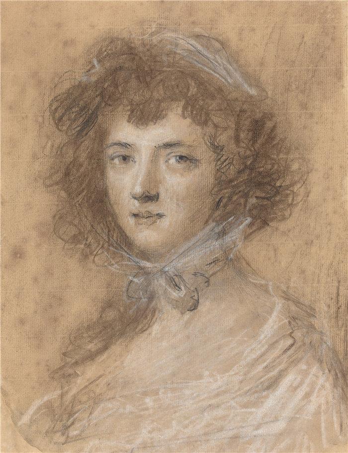 约书亚·雷诺兹(Joshua Reynolds)-一个女人的头和半身像 英国粉彩