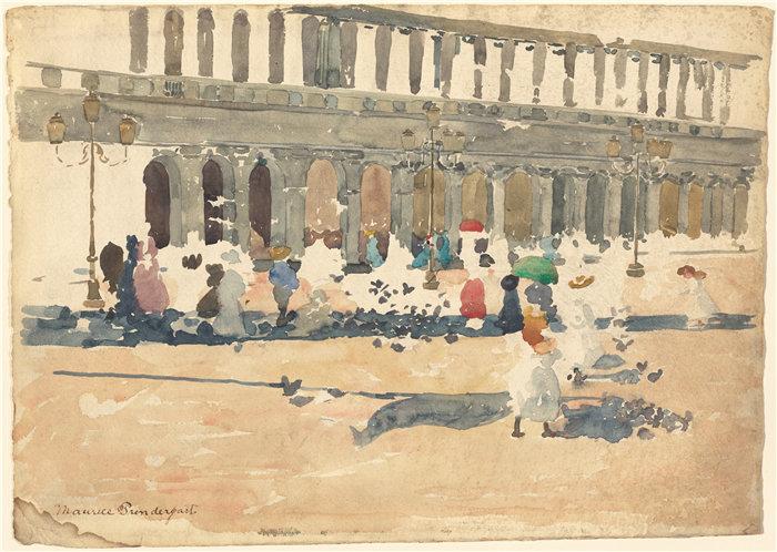 莫里斯·普伦德加斯特(Maurice Prendergast)-威尼斯的 Caffè Florian作品下载