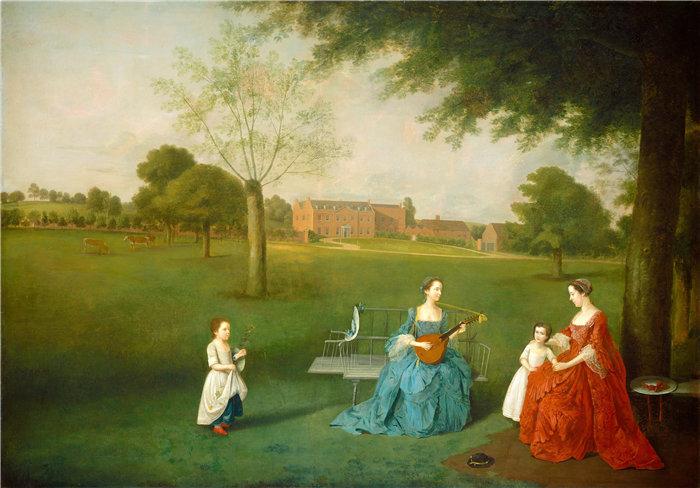 亚瑟·德维斯(Arthur Devis)-梅纳德家族成员在沃尔顿公园,1755年 英国油画