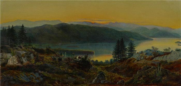 约翰·阿特金森·格里姆肖(John Atkinson Grimshaw),英国人,1836–1893 年-温德米尔油画