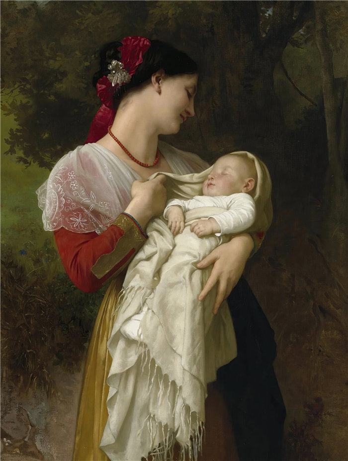 法国画家威廉·阿道夫·布格罗(William Adolphe Bouguereau)油画-仰慕母胎