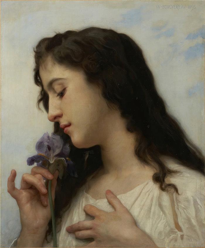 法国画家威廉·阿道夫·布格罗(William Adolphe Bouguereau)油画-有虹膜的女人 (1895)