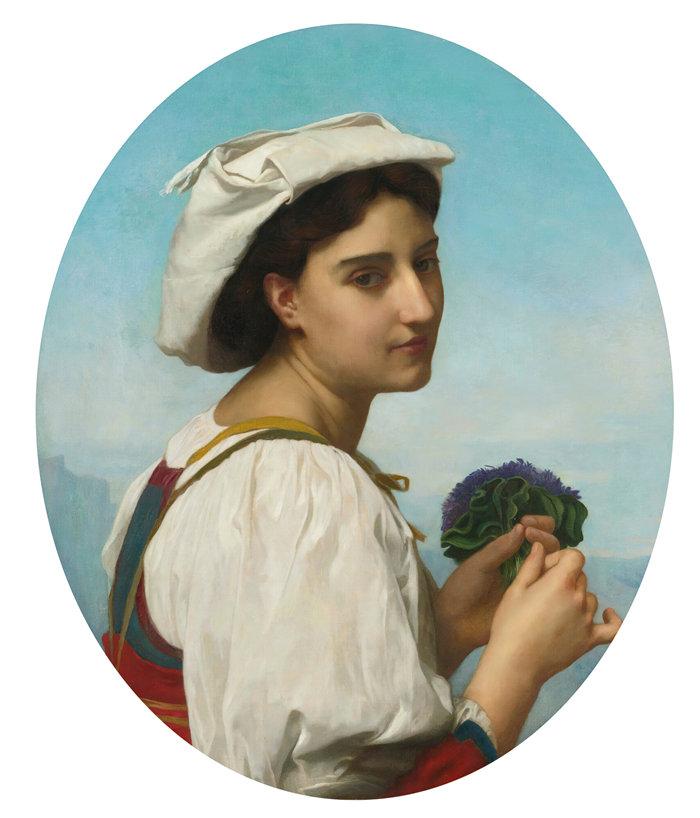 法国画家威廉·阿道夫·布格罗(William Adolphe Bouguereau)油画-紫罗兰花束 (1870)