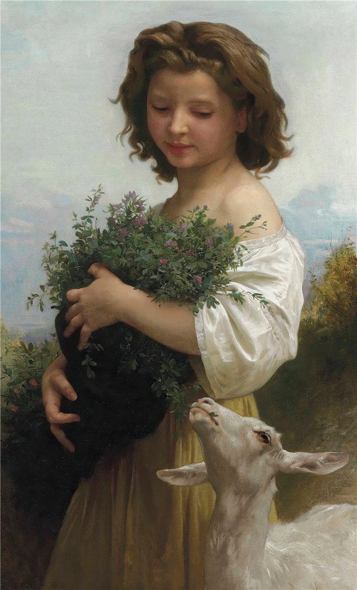 法国画家威廉·阿道夫·布格罗(William Adolphe Bouguereau)油画-小埃斯梅拉达