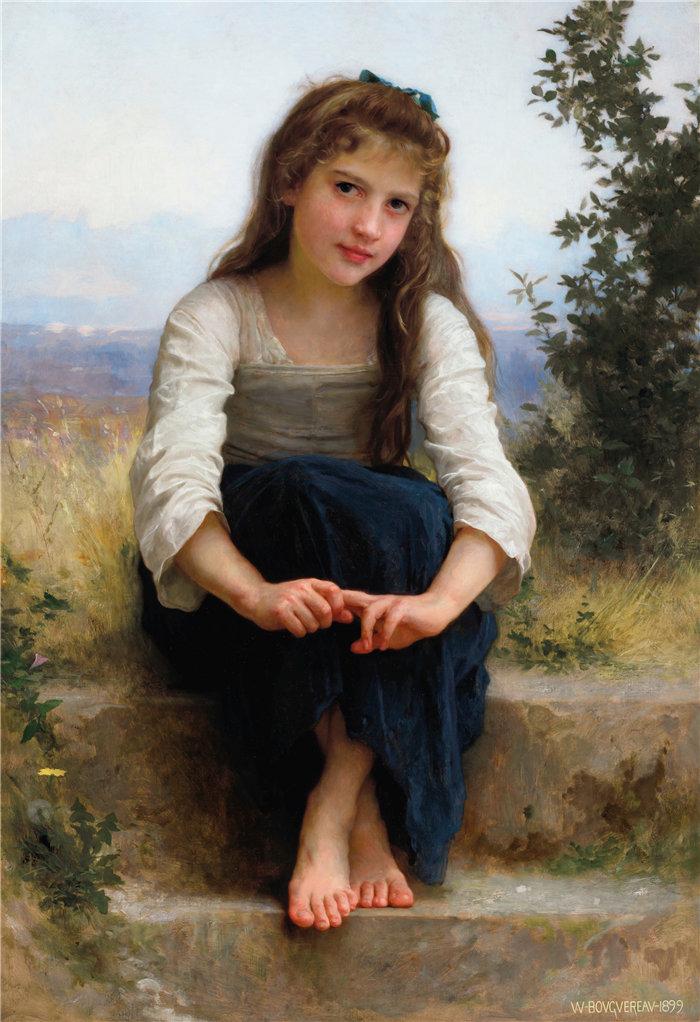 法国画家威廉·阿道夫·布格罗(William Adolphe Bouguereau)油画-遐想 (1899)