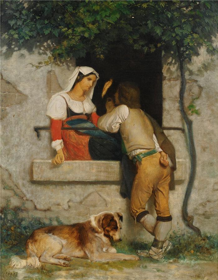 法国画家威廉·阿道夫·布格罗(William Adolphe Bouguereau)油画-意大利情人