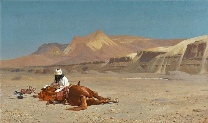 让·莱昂·杰罗姆(Jean-Léon Gérôme,法国) 油画-骑手和他的骏马在沙漠中
