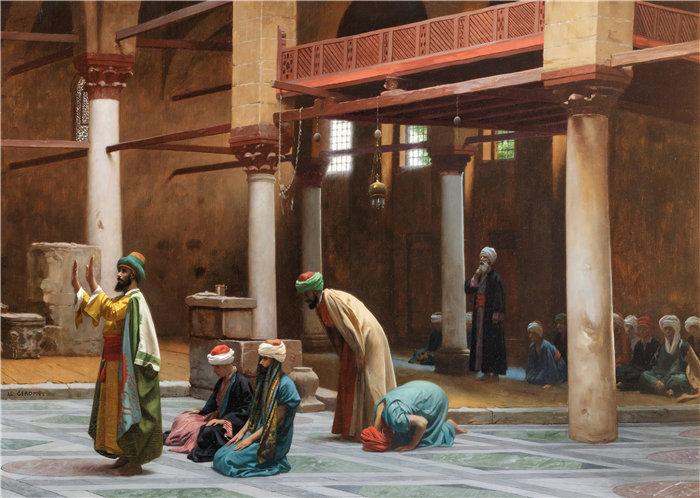 让·莱昂·杰罗姆(Jean-Léon Gérôme,法国) 油画-在清真寺祈祷