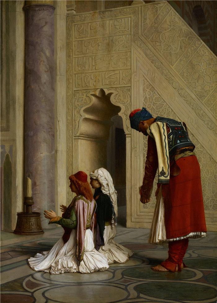 让·莱昂·杰罗姆(Jean-Léon Gérôme,法国) 油画-清真寺里的年轻希腊人 (1865)