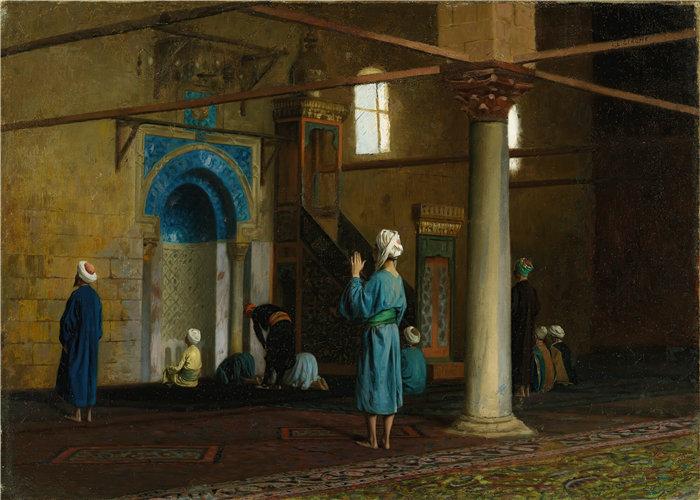 让·莱昂·杰罗姆(Jean-Léon Gérôme,法国) 油画-在祈祷中,开罗