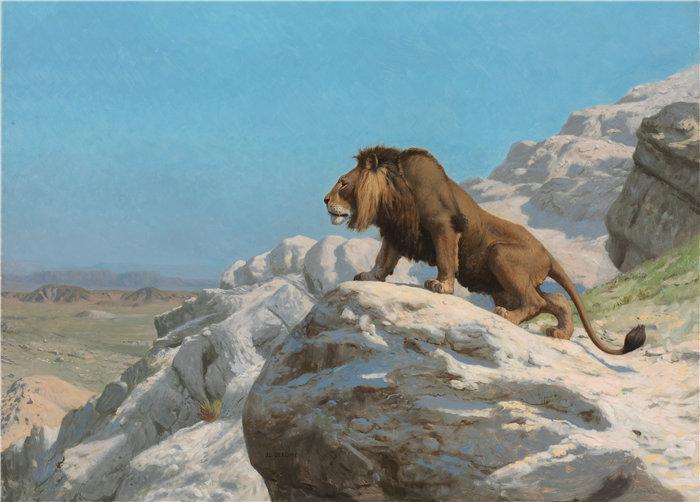 让·莱昂·杰罗姆(Jean-Léon Gérôme,法国) 油画-守望的狮子(约 1885 年)