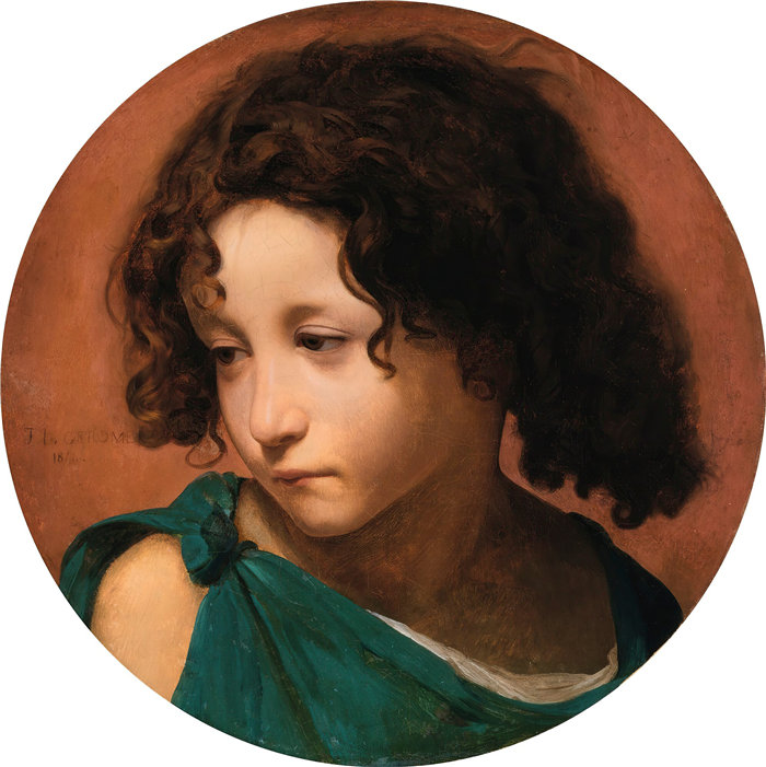 让·莱昂·杰罗姆(Jean-Léon Gérôme,法国) 油画-少年肖像(1844)