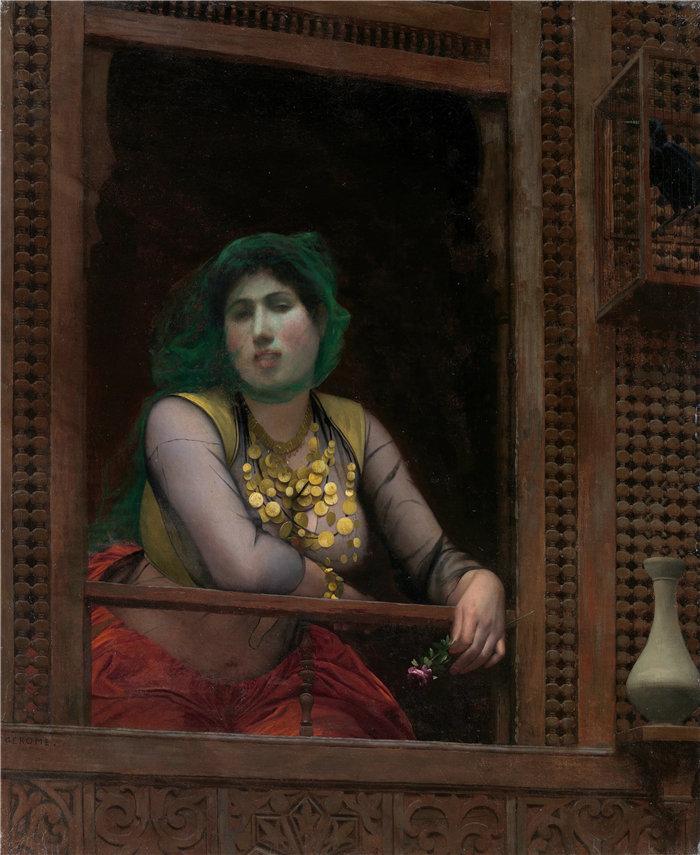 让·莱昂·杰罗姆(Jean-Léon Gérôme,法国) 油画-阳台上的女人(1887-88)