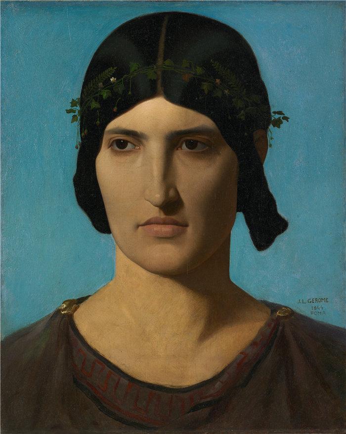 让·莱昂·杰罗姆(Jean-Léon Gérôme,法国) 油画-一个意大利女人的头像(1847-1860)