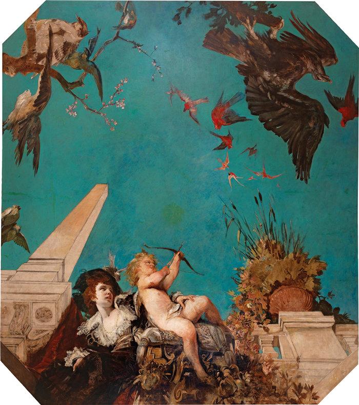 汉斯·马卡特 (Hans Makart,奥地利画家)-天花板画,在花园景观中带着丘比特的社会女士(C. 1877)