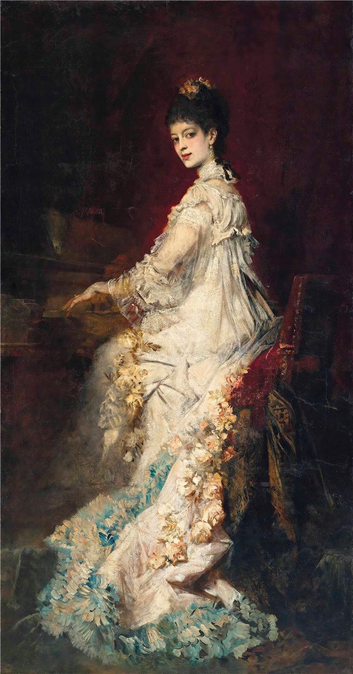汉斯·马卡特 (Hans Makart,奥地利画家)-玛丽亚的肖像,冯·唐霍夫伯爵夫人