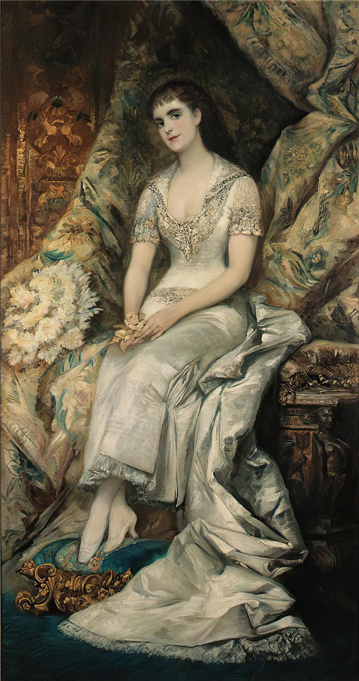 汉斯·马卡特 (Hans Makart,奥地利画家)-一位坐着的女士的肖像,可能是比安卡·特森伯格伯爵夫人