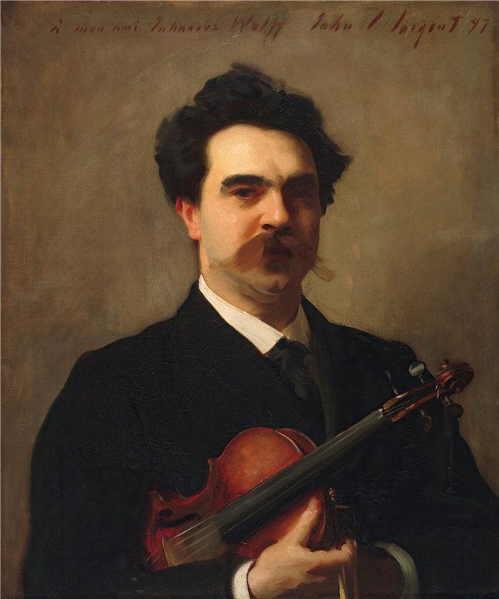 约翰·辛格·萨金特 (John Singer Sargent,美国画家)作品-约翰内斯·沃尔夫 (1861–1931),荷兰小提琴家 (1897)