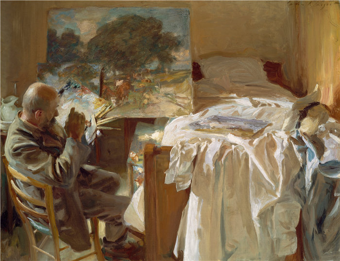 约翰·辛格·萨金特 (John Singer Sargent,美国画家)作品-艺术家在他的工作室