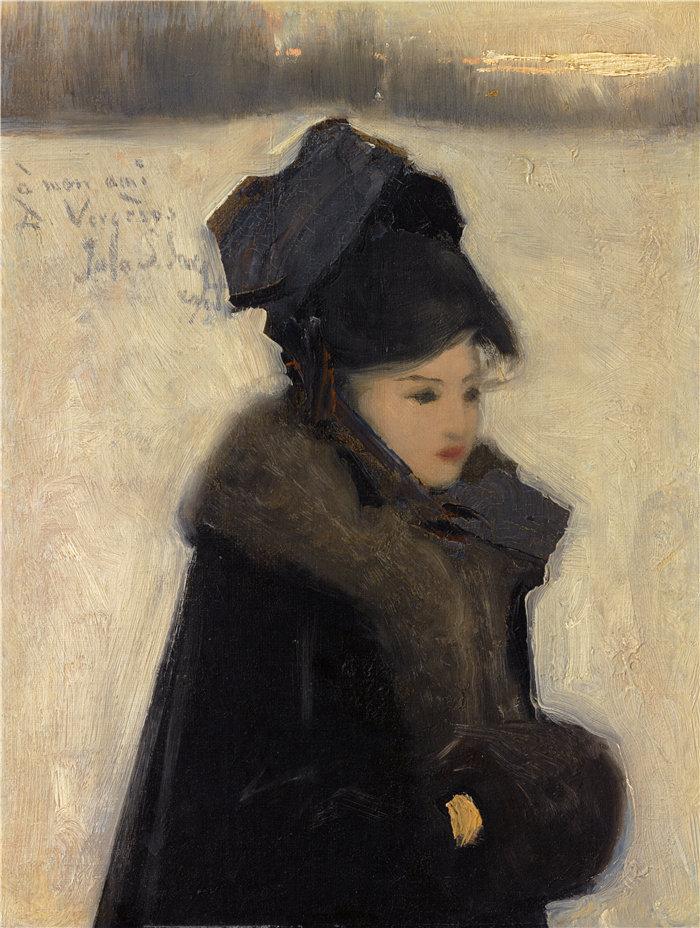 约翰·辛格·萨金特 (John Singer Sargent,美国画家)作品-有毛皮的女人(C. 1880–85)